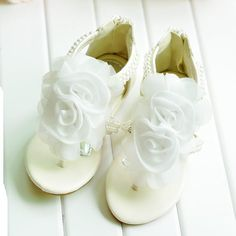 Designer White Flower Pageant Girl First Communion Shoes Sandals SKU-133021