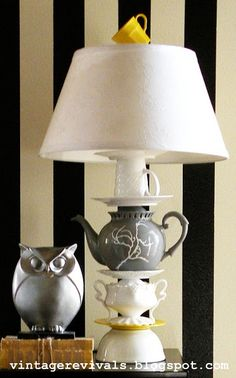 DIY: Anthro Inspired  Teapot Lamp - made from thrifted teapots, cups, plates, etc. Tutorial shows you how to drill through glass, how to assemble & how to wire a lamp. teapot, cups, anthropologie, owl, lamp, blog, light, teacup, china