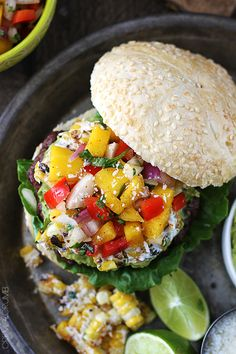 Guacamole Burgers with Grilled Mexican-Style Corn  Mango Red Pepper Salsa