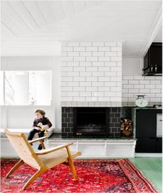 A beautifully simple home with green floors