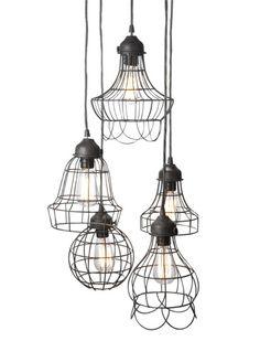 Wire frame pendant lighting