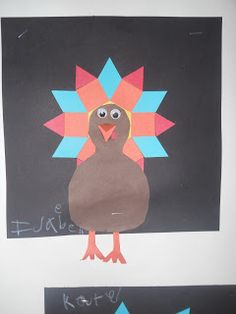 Here's a very cute idea for making pattern block turkeys.