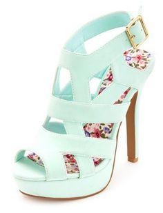 Mint Color Platform Heels
