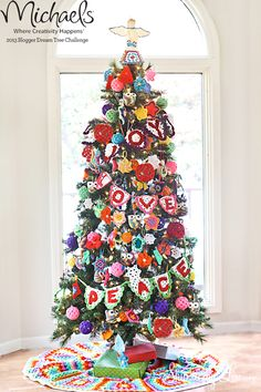 Crochet Decorated Christmas Tree by @Skip to my Lou #JustAddMichaels
