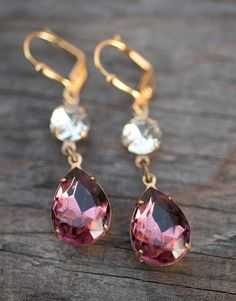 Plum Purple Earrings Bridal Jewelry Bridesmaids Gifts Summer Jewelry Amethyst Bridal Party, $24.00
