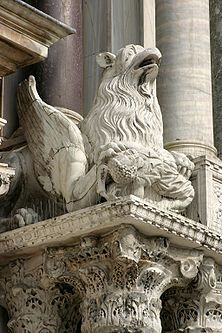 Statue of a griffin at St Mark's Basilica in Venice
