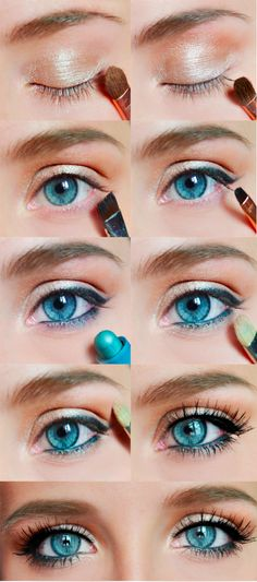 makeup tutorials, beauty makeup, every day makeup, eye colors, blue eye makeup, hazel eyes, everyday makeup, baby blues, blue eyeliner makeup