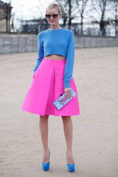 Paris Street Style Fall 2014 skirt, fashion weeks, paris fashion, crop tops, street styles, bold colors, bright colors, blues, paris style