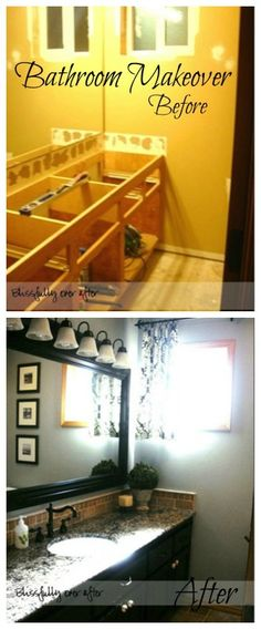 Bathroom Renovation Idea Before and After featured on Remodelaholic.com #bathroom #beforeandafter