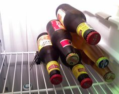 Use a binder clip to keep beer stacked. Genius.