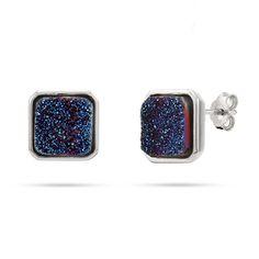 Sterling Silver Blue Drusy Quartz Cushion Earrings $34