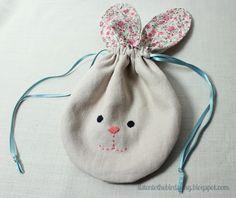 cute linen & liberty bunny pouch