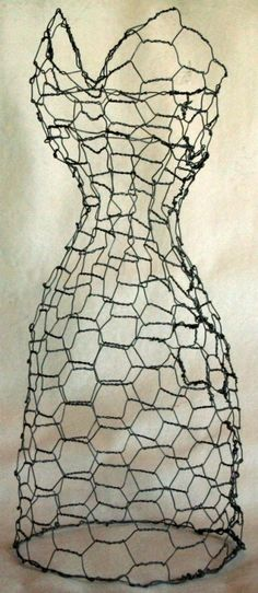 plant, long dresses, dress form, chicken wire, display, art sculptures, garden, wire dress, wire sculptures