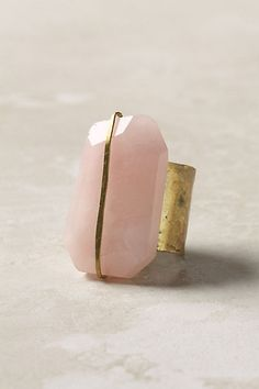 Gold and pink quartz ring.