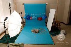 Cake Smash Setup, Super cute studio shots result, love the hanging balloons. Shoot through umbrella, card reflector.