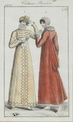 Yellow and orange pelisse 1808 costume parisien