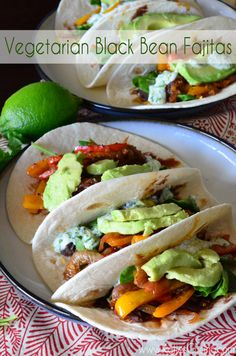 Vegetarian Black Bean Fajitas from KatiesCucina.com