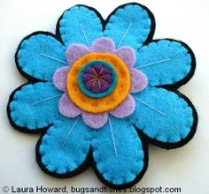 Make the flower brooch pictured or follow the steps to design & make your own felt brooch! -- Bugs and Fishes by Lupin: How To: design and make a felt brooch