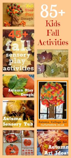 85+ fall activities. Seasonal ideas for letter and math games, fall crafts, eco and school garden activities, sensory play ideas. Pin for a great resource.