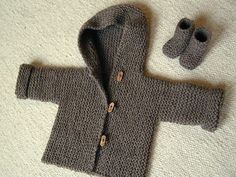 Snug - almost seamless hoodie, knit in a bulky soft wool (newborn-6 months) pattern by Hinke