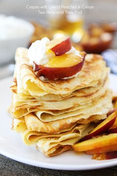 Need to get World Market mix! Crepes with Grilled Peaches  Cream Recipe on twopeasandtheirpod.com