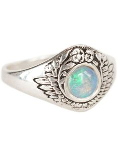 Opal Feathers & Flowers Ring