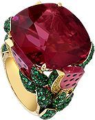"""This colorful Piaget ring is inspired by the """"Watermelon Dream"""" cocktail. The watermelon juice is a rubellite, while the fresh mint leaves are emeralds studded with diamonds."""