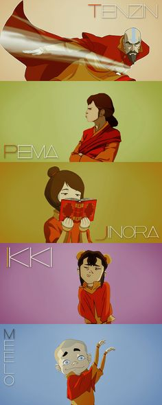 Tenzin looks like a boss with a plan, Pema is looking displeased, Jinora is simply reading, Ikki is pouting, and Meelo is being the leaf!
