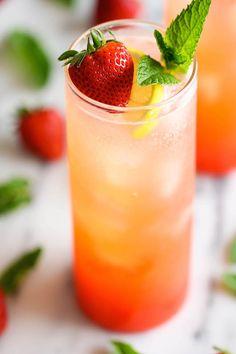 Sparkling Strawberry Lemonade - Damn Delicious. Use honey.