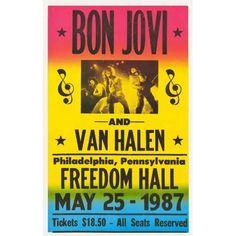 Amazon.com : Bon Jovi - Van Halen Concert Poster (1987) Freedom Hall ...