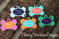 Personalized Dog Bone ID Tag  Monogram by CherryTreeLaneDesign