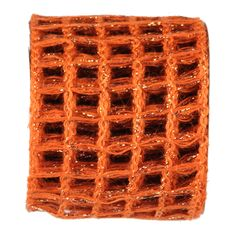 Jute Metallic Ribbon Color: Orange Copper with a bit of foil Size: 4 in width; 10 yards length Material: Jute Wired Arriving Summer 2013