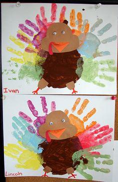 Hand print turkeys