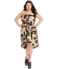 Trixxi Plus Size Dress, Strapless Printed High-Low - Plus Size Dresses - Plus Sizes - Macy's