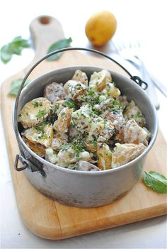 Lemony Roasted Potato Salad...no mayo...the dressing is made from Greek  yogurt...I would add some garlic, or onion, or BOTH to spice it up.