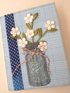 All Occasion  Card with Daisies in Ball Mason Jar