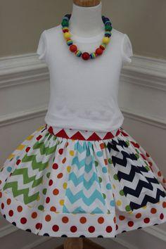 chevron skirt rainbow skirt chevron rainbow by LightningBugsLane, $35.00 #rileyblakedesigns #chevron #chevronskirt #polkadotfabric