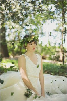 bridal portrait with falling leaves, photo by Ronel Kruger Photography http://ruffledblog.com/south-african-wine-estate-inspiration #brides #weddingideas
