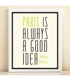 Lime 'Audrey Hepburn Paris is Always a Good Idea' by AmandaCatherineDes.