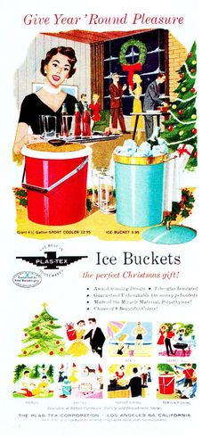 Ice Buckets for Christmas - vintage ad