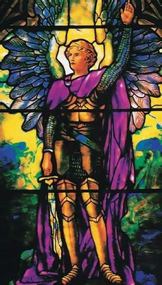 ❥ Archangel Michael, Stained glass window by Louis Comfort Tiffany