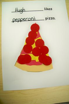 Make a class book of everyone's favorite kind of pizza. Growing in Pre K - Pizza