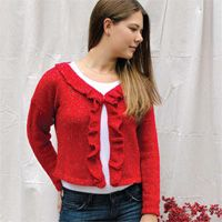 Festive ruffled cardigan - sweater knitting pattern