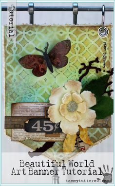 Tammy Tutterow | Beautiful World Art Banner Tutorial featuring Tim Holtz Distress Stain Dyed Muslin.