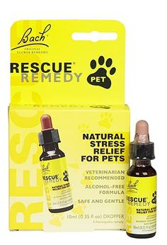 LOOK FOR BACH's RESCUE REMEDY FOR PETS. Rescue Remedy Pet is a combination of 5 Bach Flower Remedies to help your pet deal with stressful situations such as; going to the Vet, the Groomer, Thunderstorms and during firework. We have heard fantastic stories on people giving Rescue Remedy to their dogs when having seizures. Rescue Remedy Pet is preserved in Glycerin comes in two sizes 10 & 20 ml.