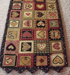 Table Runner Topper Folk Art Hearts by VicSews on Etsy