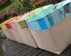 Bins for fabric scraps--color coded. Great idea!!