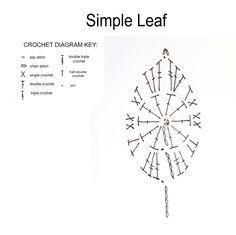 Crochet Leaf - Chart ❥ 4U // hf