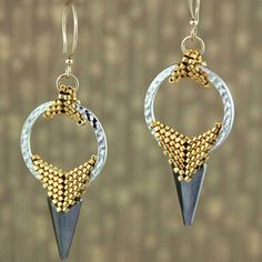 Gorgeous earrings using TierraCast Hammertone rings from Lindsay at Fusion Beads.