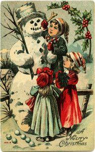 Children and Snowman ~ Free Vintage Postcard Graphic